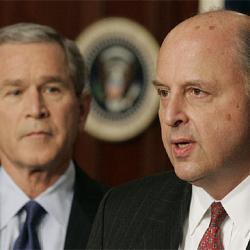 John Negroponte junto a W. BUSH dos criminales de Guerra  GENOCIDAS