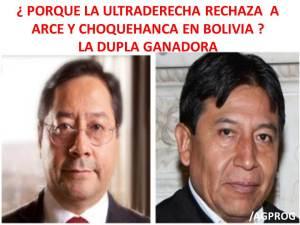 ¿PORQUE LA ULTRADERECHA BOLIVIANA RECHAZA A ARCE Y CHOQUEHUANCA CANDIDATOS DEFINITIVOS DEL MAS EN BOLIVIA?